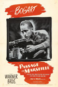 "Movie Posters:War, Passage to Marseille (Warner Brothers, 1944). One Sheet (27"" X 41""). Humphrey Bogart stars as a French journalist who sacrif..."
