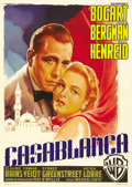 "Movie Posters:Drama, Casablanca (Warner Brothers, Post War 1953). Italian 2 - Folio (39""X 55""). Italian movie patrons had to wait until after th..."
