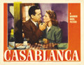 "Movie Posters:Drama, Casablanca (Warner Brothers, 1942). Lobby Card (11"" X 14""). Humphrey Bogart and Ingrid Bergman appear in the most romantic s..."