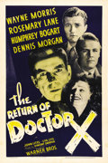 "Movie Posters:Horror, The Return of Dr. X (Warner Brothers, 1939). One Sheet (27"" X 41"").This movie has absolutely nothing to do with the earlier..."