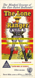 "Movie Posters:Western, The Lone Ranger (Warner Brothers, 1956). Australian Daybill (13"" X 30""). Clayton Moore and Jay Silverheels will always be sy..."