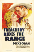 "Movie Posters:Western, Treachery Rides the Range (Warner Brothers, 1936). One Sheet (27"" X 41""). In his third western for Warner Brothers, Dick For..."