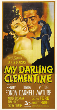 "My Darling Clementine (20th Century Fox, 1946). Three Sheet (41"" X 81""). John Ford tackled one of the Wild Wes..."