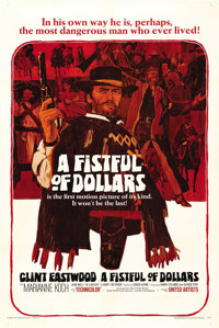 """A Fistful of Dollars (United Artists, 1967). One Sheet (27"""" X 41""""). This revisionist western appeared out of n..."""