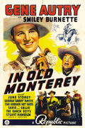 "Movie Posters:Western, In Old Monterey (Republic, 1939). One Sheet (27"" X 41""). Sgt. GeneAutry is an Army attache assigned to purchase ranch land ..."