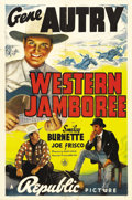 "Movie Posters:Western, Western Jamboree (Republic, 1938). One Sheet (27"" X 41""). Beautifulartwork of Gene Autry and Smiley Burnette for this early..."