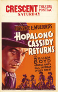"Movie Posters:Western, Hopalong Cassidy Returns (Paramount, 1936). Window Card (14"" X 22""). William Boyd was ""Hopalong Cassidy"" for 66 pictures fro..."