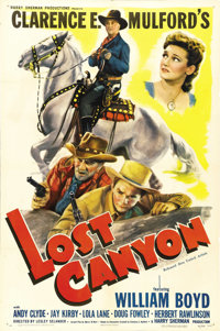 """Lost Canyon (United Artists, 1942). One Sheet (27"""" X 41""""). William Boyd as the good guy who wears a black hat..."""