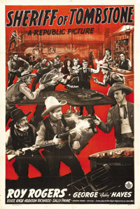 "Sheriff of Tombstone (Republic, 1941). One Sheet (27"" X 41""). A case of mistaken identity lands Roy Rogers and..."