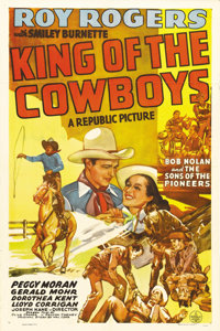 """King of the Cowboys (Republic, 1943). One Sheet (27"""" X 41""""). It's World War II, and Roy Rogers is called in by..."""