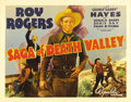 "Movie Posters:Western, Saga of Death Valley (Republic, 1939). Half Sheet (22"" X 28""). Roy Rogers is forced to chase down his own kid brother in thi..."