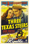 "Movie Posters:Western, Three Texas Steers (Republic, 1939). One Sheet (27"" X 41""). As JohnWayne's years making B Westerns came to a close, he foun..."