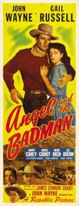 "Movie Posters:Western, Angel and the Badman (Republic, 1947). Insert (14"" X 36""). This was the first film that John Wayne personally produced and i..."