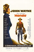 "Movie Posters:Western, Hondo (Warner Brothers, 1953). One Sheet (27"" X 41""). Army dispatchrider Hondo Lane (John Wayne) discovers a woman (Geraldi..."