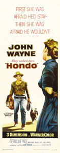 "Movie Posters:Western, Hondo (Warner Brothers, 1953). Insert (14"" X 36""). Adapted fromLouis L'Amour's popular novel, John Wayne was cast in the ti..."