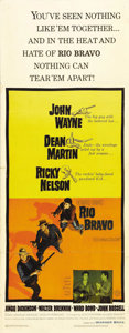 "Movie Posters:Western, Rio Bravo (Warner Brothers, 1959). Insert (14"" X 36""). John Wayne and Howard Hawks' great Western is well represented with t..."