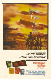 "The Searchers (Warner Brothers, 1956). One Sheet (27"" X 41""). John Wayne is a war weary ex-confederate who bec..."