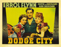 """Movie Posters:Western, Dodge City (Warner Brothers, 1938). Lobby Card (11"""" X 14""""). ErrolFlynn stars in his first western as Wade Hatton, the Marsh..."""