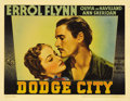 "Movie Posters:Western, Dodge City (Warner Brothers, 1938). Lobby Card (11"" X 14""). Errol Flynn and Olivia de Havilland starred together for the fou..."