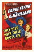 "Movie Posters:Western, They Died with Their Boots On (Warner Brothers, 1941). One Sheet (27"" X 41""). Errol Flynn and Olivia de Havilland star in th..."