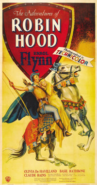 "The Adventures of Robin Hood (Warner Brothers, 1938). Three Sheet (41"" X 81""). Warner Brothers originally plan..."