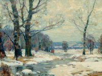 JOHN FABIAN CARLSON (Swedish/American, 1874-1945) Winter's Magic, Woodstock, New York Oil on canvas<
