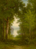 Fine Art - Painting, American, ANDREW FISHER BUNNER (American, 1841-1897). In the Forest.Oil on canvas laid on panel. 15 x 11 inches (38.1 x 27.9 cm)...