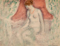 Works on Paper, FREDERICK CARL FRIESEKE (American, 1874-1939). Nude, 1920. Watercolor on paper. 8-3/4 x 11-3/4 inches (22.2 x 29.8 cm). ...