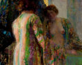 Fine Art - Painting, American, HOVSEP PUSHMAN (American, 1877-1966). Reflections. Oil onpanel. 8-1/2 x 10-3/4 inches (21.6 x 27.3 cm). Signed lower ri...