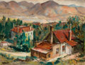 American, LOUIS SIEGRIEST (American, 1899-1989). California MiningTown. Oil on canvas laid on masonite. 20 x 25-1/2 inches (50.8...