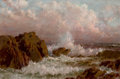 Fine Art - Painting, American:Antique  (Pre 1900), AMERICAN SCHOOL (19th Century). Seascape with Crashing Surf.Oil on board. 6-1/8 x 9-1/8 inches (15.6 x 23.2 cm). Initia...
