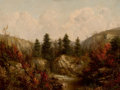 Fine Art - Painting, American:Antique  (Pre 1900), WILLIAM MASON BROWN (American, 1828-1898). River through anAutumn Forest. Oil on canvas. 10-1/2 x 14-1/2 inches (26.7 x...