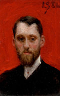 Paintings, JULIUS L. STEWART (American, 1855-1919). Miniature Portrait of a Man against Chinese Red Background [Portrait of the Paint...
