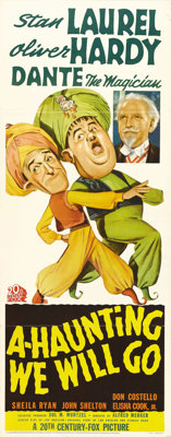"A-Haunting We Will Go (20th Century Fox, 1942). Insert (14"" X 36""). Fun artwork of Laurel and Hardy for their..."