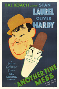 "Another Fine Mess (MGM, 1930). One Sheet (27"" X 41""). This classic short from one of the greatest comic teams..."