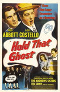 "Movie Posters:Comedy, Hold that Ghost (Realart, R-1948). One Sheet (27"" X 41""). BudAbbott and Lou Costello trapped in a haunted house with a ghos..."