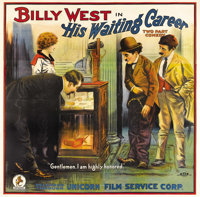 """His Waiting Career (Unicorn Releasing, 1920s). Six Sheet (81"""" X 81""""). This comedy starred Billy West, a talent..."""