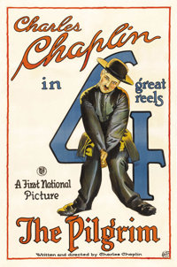 "The Pilgrim (First National, 1921). One Sheet (27"" X 41""). Considered to be one of Charlie Chaplin's better sh..."