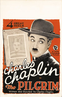 "The Pilgrim (First National, 1921). Window Card (14"" X 22""). Charlie Chaplin and his famous screen persona, th..."