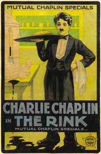 "The Rink (Mutual, 1916). One Sheet (24"" X 37.5""). Considered one of the master's greatest shorts, Charlie Chap..."