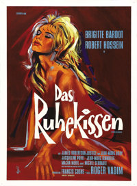 """Love on a Pillow (Royal Films International, 1963). German Poster (23.5"""" X 33""""). Roger Vadim directs his ex-wi..."""