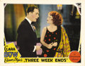 "Movie Posters:Comedy, Three Week Ends (Paramount, 1928). Lobby Card (11"" X 14""). Clara Bow stars as a gold-digging nightclub singer in this comedy..."