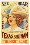 "Movie Posters:Western, The Night Rider (Unknown, R-1920s). One Sheet (27"" X 41""). TexasGuinan rose to stardom as ""Queen of the Nightclubs"" and bui..."