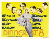 "Dinner at Eight (MGM, 1933). Half Sheet (22"" X 28""). MGM brings to the screen one of the finest ensemble film..."