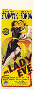 "Movie Posters:Comedy, The Lady Eve (Paramount, 1941). Australian Daybill (15"" X 40"").Preston Sturges wrote and directed this romantic comedy star..."