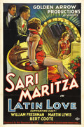"Movie Posters:Romance, Latin Love (Golden Arrow Productions, 1930). One Sheet (27"" X 41"").Nightclub owners William Freshman and Martin Lewis compe..."