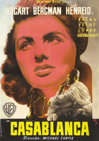 """Casablanca (Warner Brothers, Post War, 1940s). Spanish One Sheet (27"""" X 39""""). There is no doubt about how this..."""