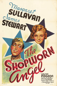 """The Shopworn Angel (MGM, 1938). One Sheet (27"""" X 41"""") Style C. Jimmy Stewart stars as a naive young Texas sold..."""
