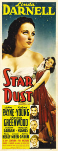 "Movie Posters:Drama, Star Dust (20th Century Fox, 1940). Insert (14"" X 36""). 17-year-oldLinda Darnell got her first big role with this film abou..."