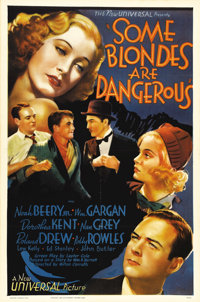 """Some Blondes are Dangerous (Universal, 1937). One Sheet (27"""" X 41""""). This beautiful poster is from the remake..."""